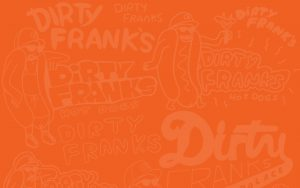 Orange Background Dirty Franks Hot Dogs