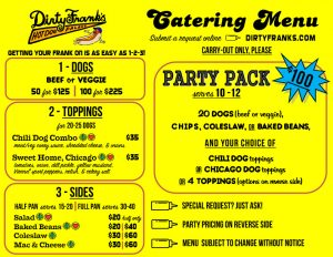Dirty Franks Catering Menu Page 2